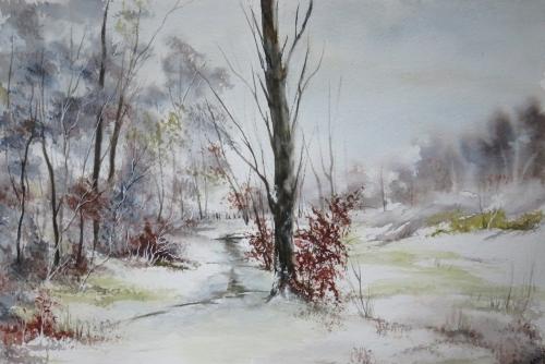 aquarelle,abby,arbres,forêt,paysage,campagne,sous-bois,neige,hiver
