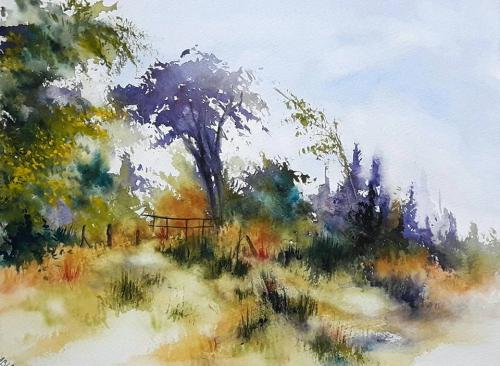 aquarelle,abby,paysage,lac,rivière,eau,barque,reflets,chemin,torrent,campagne,arbres,forêt,sous-bois