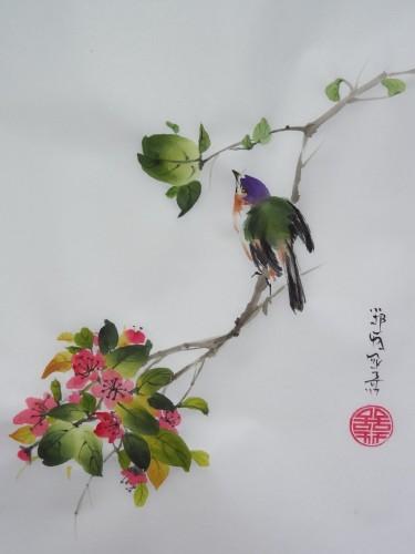 aquarelle,abby,papier de riz,peinture chinoise,peinture japonaise,umi-e,sumie,pivoine,oiseau