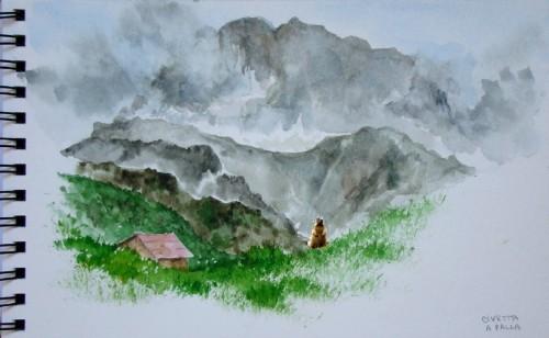aquarelle,montagne,alpes,dolomites,civetta
