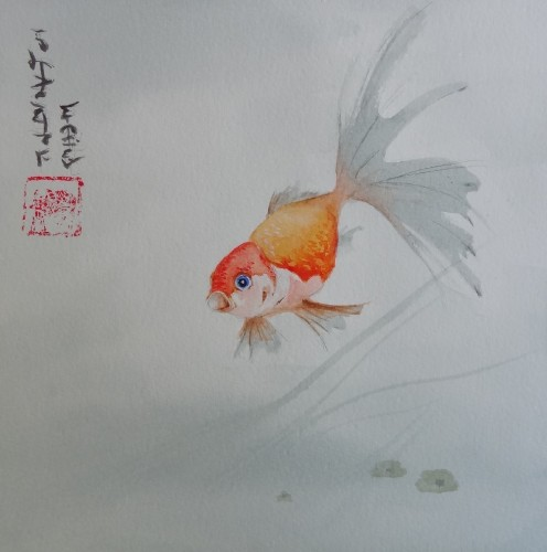 aquarelle,poisson,peinture chinoise,nature,animaux,abby,watercolor