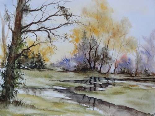 aquarelle,paysage,abby,arbres,inondations,reflets,pluie,campagne,champ