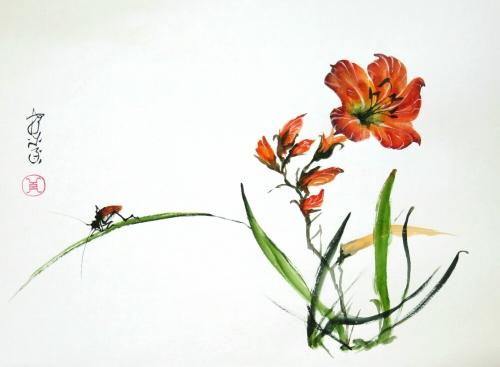 aquarelle,abby,xieyi,sumie,peinture asiatique,peinture chinois,peinture japonaise,fleurs,oiseau,insecte,encre