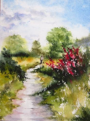 aquarelle,abby,paysage,campagne,promeneur,chemin,arbres,fleurs,chien,forêt