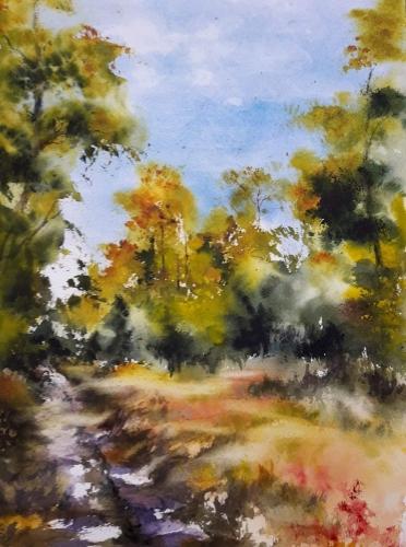 Aquarelle,abby,paysage,capagne,chemin,forêt,watercolor,peinture,art,nature,arbres,sous-bois