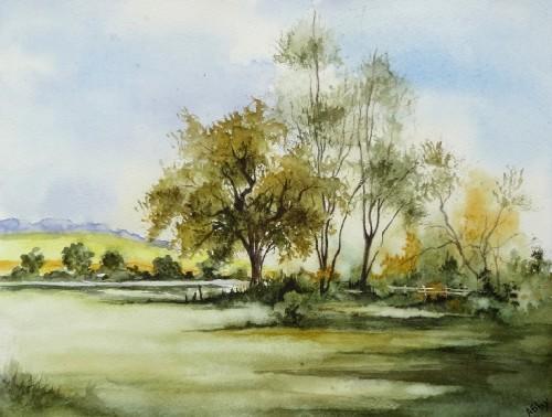 aquarelle,paysage,abby,arbres,sous-bois,forêt,champ,campagne,ardennes,chêne,printemps,été