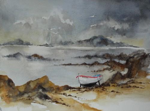 aquarelle,abby,bretagne,mer,bateau,marée basse