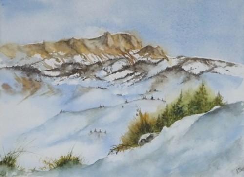 aquarelle,neige,montagne,hiver,alpes,dolomites