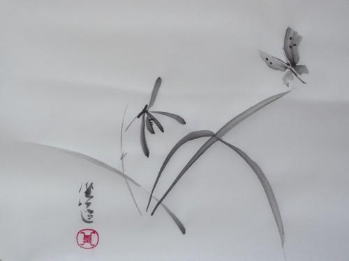 aquarelle,sumi-e,sumie,peinture chinoise, peinture japonaise,encre,abby,orchidée