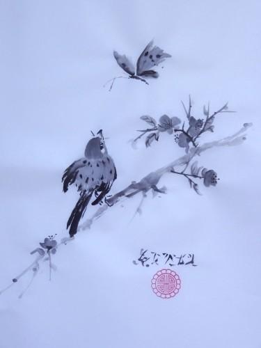 encre,aquarelle,sumi-e,sumie,peinture chinoise,peinture japonaise,oiseaux,abby