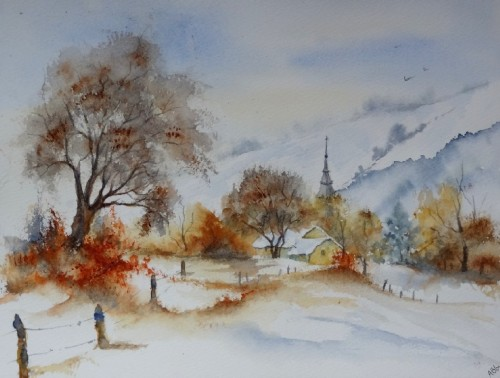 aquarelle,abby,paysage,neige,hiver,arbres,froid,village,