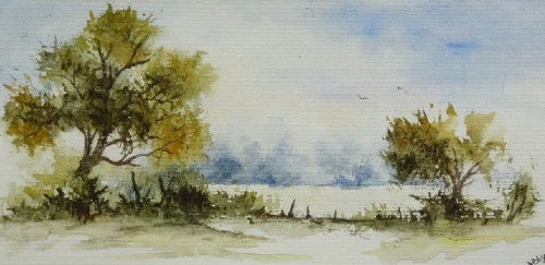 aquarelle,paysage,campagne,abby,arbres,champ