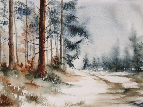 aquarelle,abby,hiver,sous-bois,forêt,arbres,neige