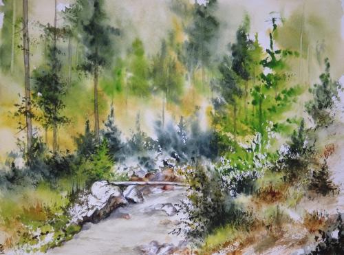 aquarelle,abby,rivière,torrent,montagne,dolomites,alpes,arbres,sapins