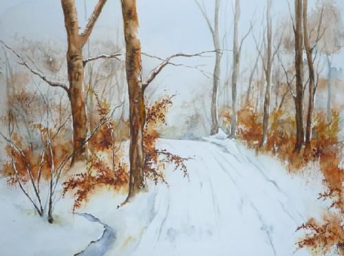 aquarelle,paysage,neige,forêt,arbres,chemin,hiver