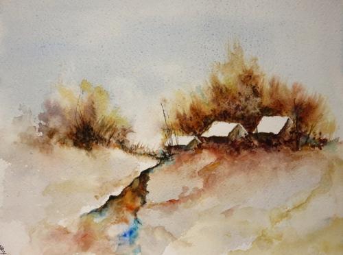 aquarelle,abby,arbres,forêt,paysage,campagne,sous-bois,neige,hiver,village,maisons