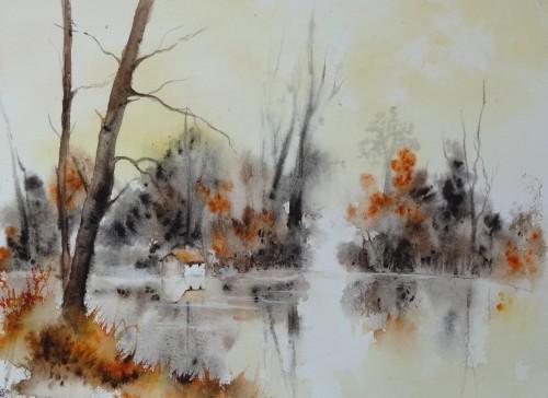 aquarelle,paysage,lac,reflets,étangs,abby,Ardenne belge,arbres,cabane