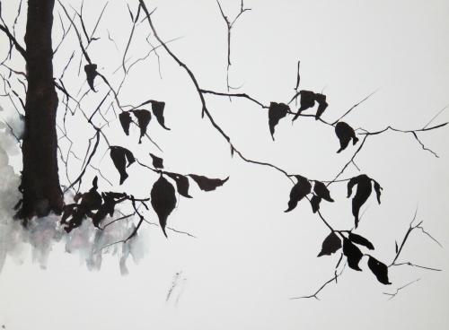 Encre,abby,arbre,branche,feuilles,sumie,encre asiatique,encre chinoise