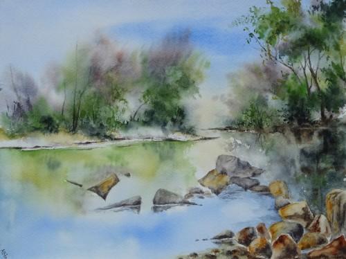 aquarelle,paysage,abby,campagne,rivière,reflets,arbres,rochers