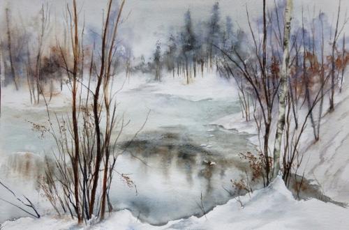 aquarelle,abby,arbres,forêt,paysage,campagne,sous-bois,neige,hiver,arbres,bouleau,étang,lac,gel