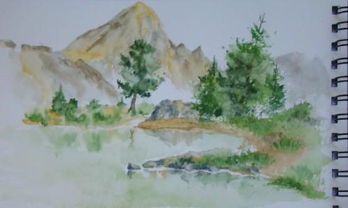 aquarelle,lac,montagne,dolomites