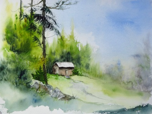 aquarelle,abby,paysage,campagne,forêt,arbres,chemin,route,hêtre,sapin,cabane