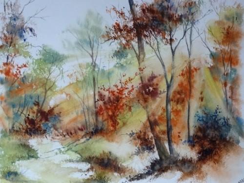 aquarelle,paysage,abby,arbres,sous-bois,forêt,automne,contre-jour,lumière