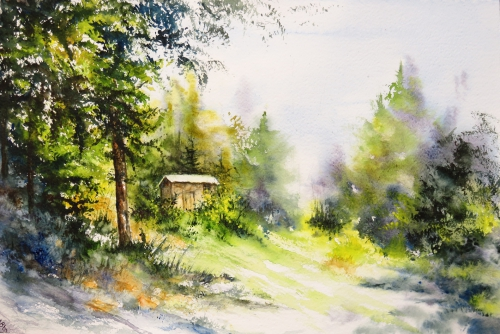 aquarelle,abby,cabane,arbres,forêt,paysage,campagne,sous-bois,barrière