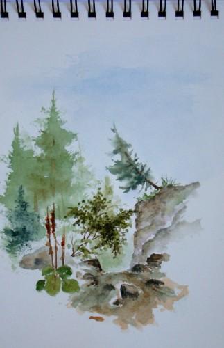 croquis,ruisseau,alpes,dolomites