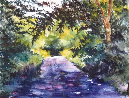 aquarelle,abby,paysage,rivière,campagne,arbres,ruisseau,reflets,chemin