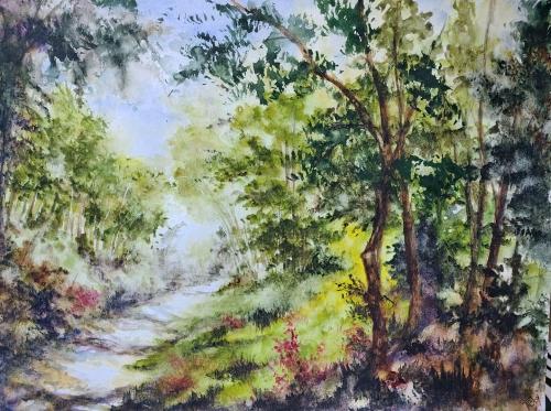 aquarelle,abby,paysage,bois,forêt,arbres,barrière,campagne,watercolor