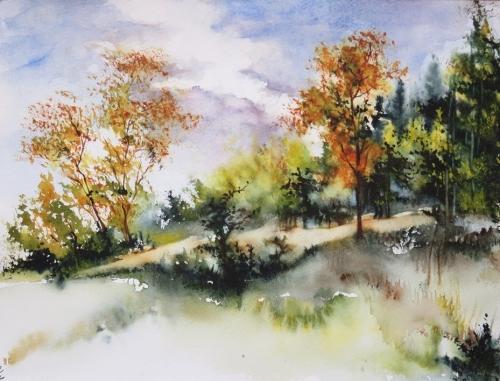 aquarelle,abby,paysage,campagne,forêt,sous-bois,arbres,automne,chemin
