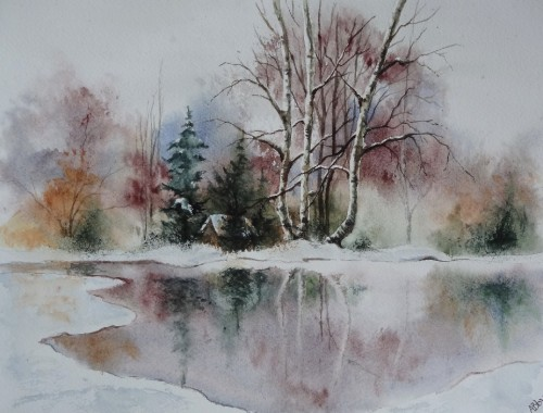 aquarelle,paysage,abby,arbres,hiver,reflets,lac,étang,gel,neige,cabane