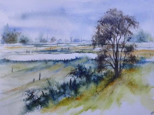 aquarelle,paysage,abby,étang,baie,baie de somme,baie d'authuie,reflets,marais,arbre
