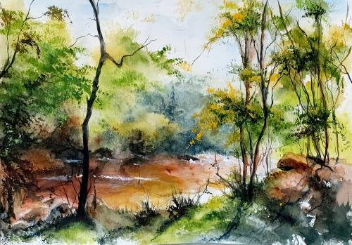 Aquarelle,abby,paysage,watercolo,rivière,arbres,sous-bois,forêt