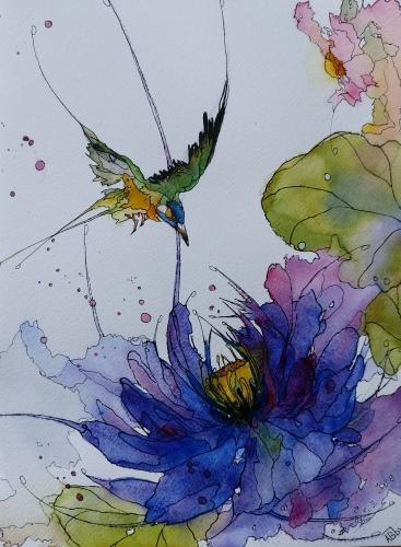 Aquarelle, abby,fleurs,insectes,peinture,watercolor,oiseau