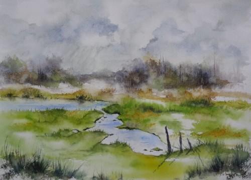 aquarelle,paysage,abby,étang,baie,baie de somme,baie d'authuie,reflets,marais