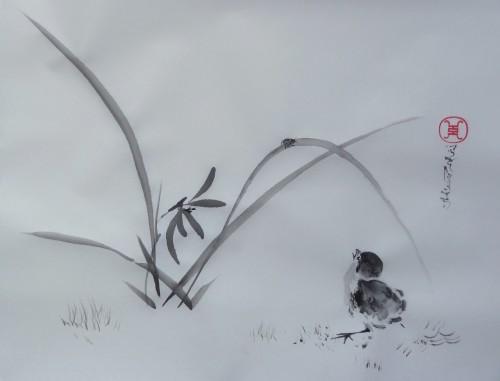 aquarelle,peinture chinoise,sumi-e,sumie,oiseau,fleur,rose,abby,encre