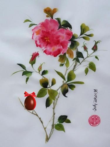 aquarelle,papier de riz,chine,peinture chinoise,abby,oiseau,fleur,xie yi,spontané,aquarelle chinoise,nature,rose