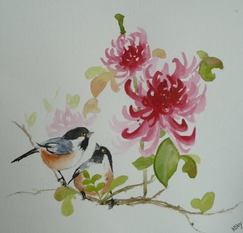 aquarelle,peinture chinoise, oiseaux,nature,abby,watercolor