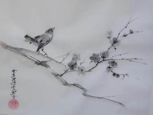 aquarelle,sumie,sumi-e,encre,abby,peinture chinoise,peinture japonaise,oiseaux