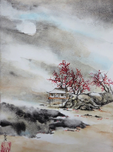 aquarelle,abby,cabane,arbres,mer,peinture chinoise,rochers,plage,chine