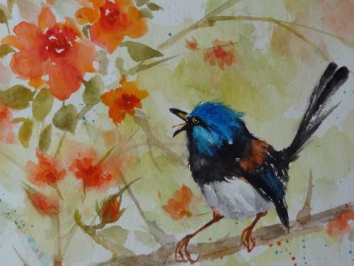 aquarelle,abby,peinture chinoise,xieyi,oiseau,