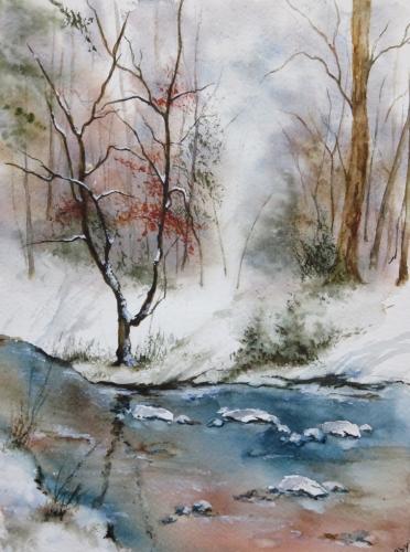 aquarelle,abby,arbres,forêt,paysage,campagne,sous-bois,rivière,ruisseau,neige,hiver,arbres,reflets