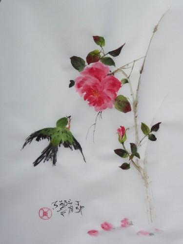 aquarelle,sumi-e,sumie,peinture chinoise,oiseau,fleur,abby