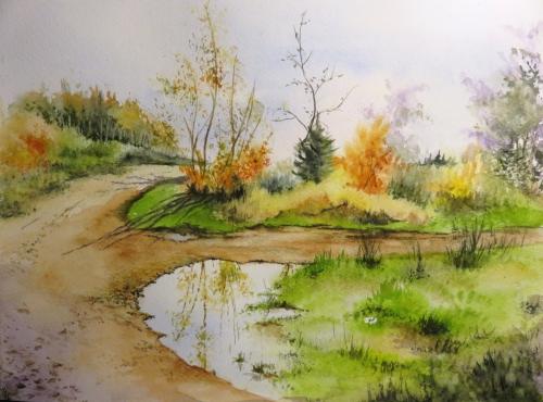 aquarelle,abby,arbres,forêt,paysage,campagne,sous-bois,flaque,chemin,automne