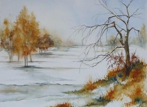 aquarelle,paysage,neige,arbre,lac,glace,hiver