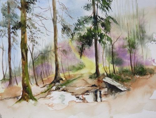 aquarelle,abby,hiver,pont,rivière,forêt,sous-bois,sapins,arbres