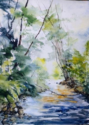 Aquarelle,abby,paysage,campagne,chemin,forêt,watercolor,peinture,art,nature,arbres,sous-bois
