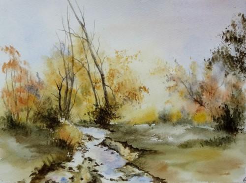aquarelle,abby,cabane,arbres,forêt,paysage,campagne,sous-bois,rivière